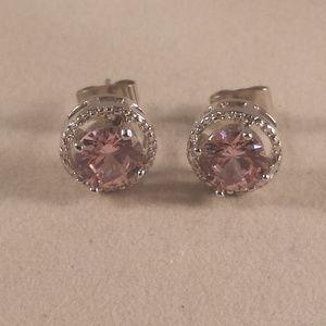 Pink Topaz Zircon Halo Stud Earrings 1.28tcw